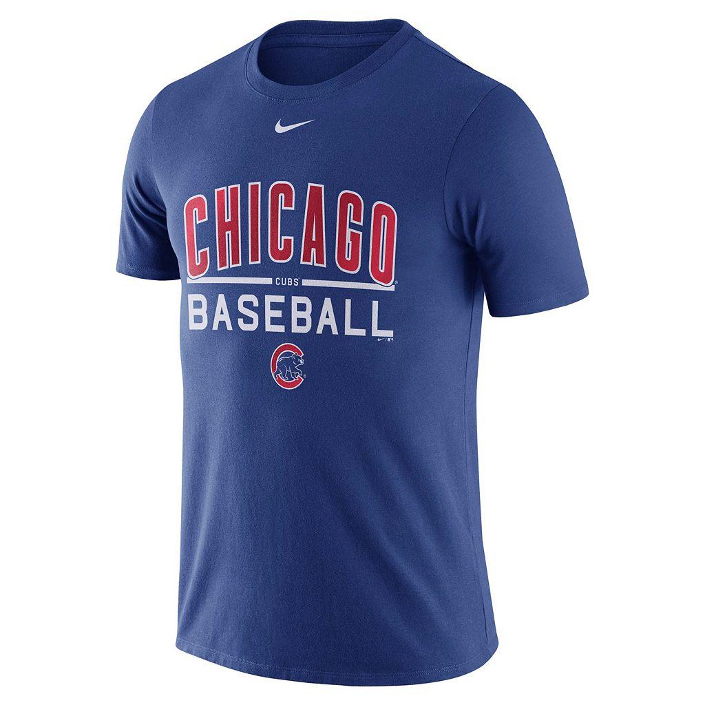 Men's Nike Chicago Cubs Away Practice Ringspun Tee