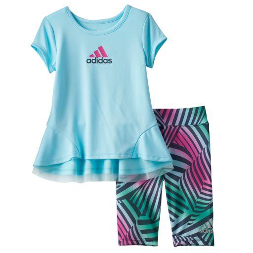 Baby Girl adidas Graphic Tunic & Zebra Leggings Set