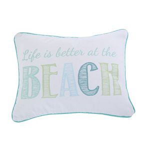 Del Ray Embroidered Life Is Better Throw Pillow