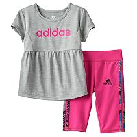 Baby Girl adidas Babydoll Graphic Tunic & Capri Set