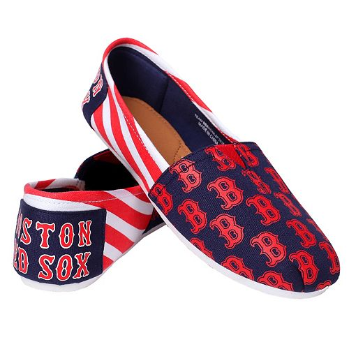 Women's Forever Collectibles Boston Red Sox Striped Canvas Shoes
