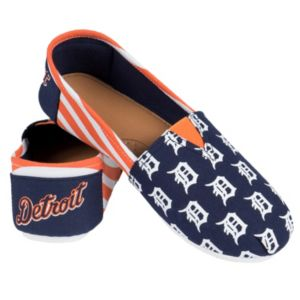 Women's Forever Collectibles Detroit Tigers Striped Canvas Shoes