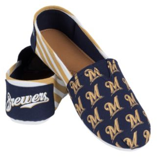 Women's Forever Collectibles Milwaukee Brewers Striped Canvas Shoes