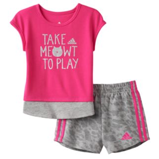"Baby Girl adidas ""Take Meowt To Play"" Graphic Tee & Shorts Set"