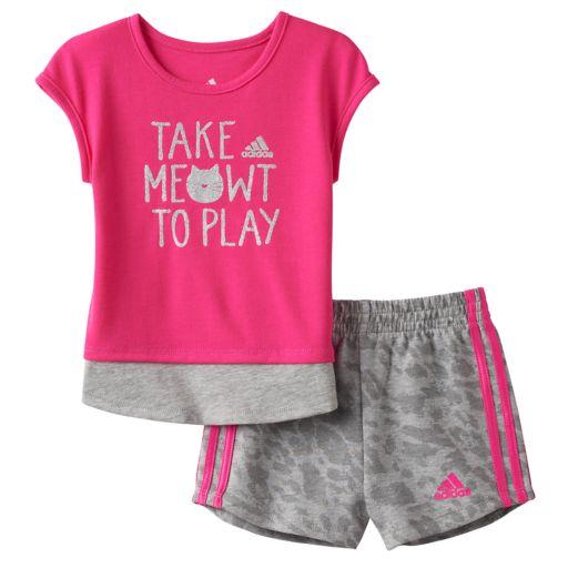 "Baby Girl adidas ""Take Meowt To Play"" Graphic Tee & Shorts Set"