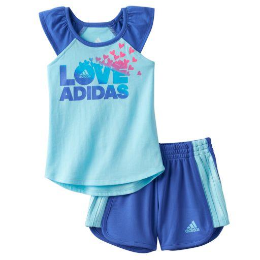 """Baby Girl adidas """"Love adidas"""" Graphic Tank & Shorts Set"""