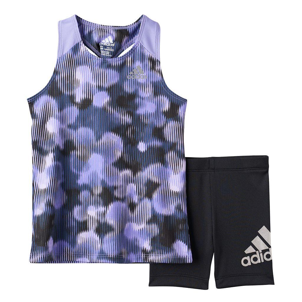 Toddler Girl adidas Floral Racer Tank Top & Bike Shorts Set