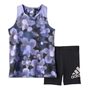 Toddler Girl adidas Floral Racer Tank Top & Bike Shorts Set