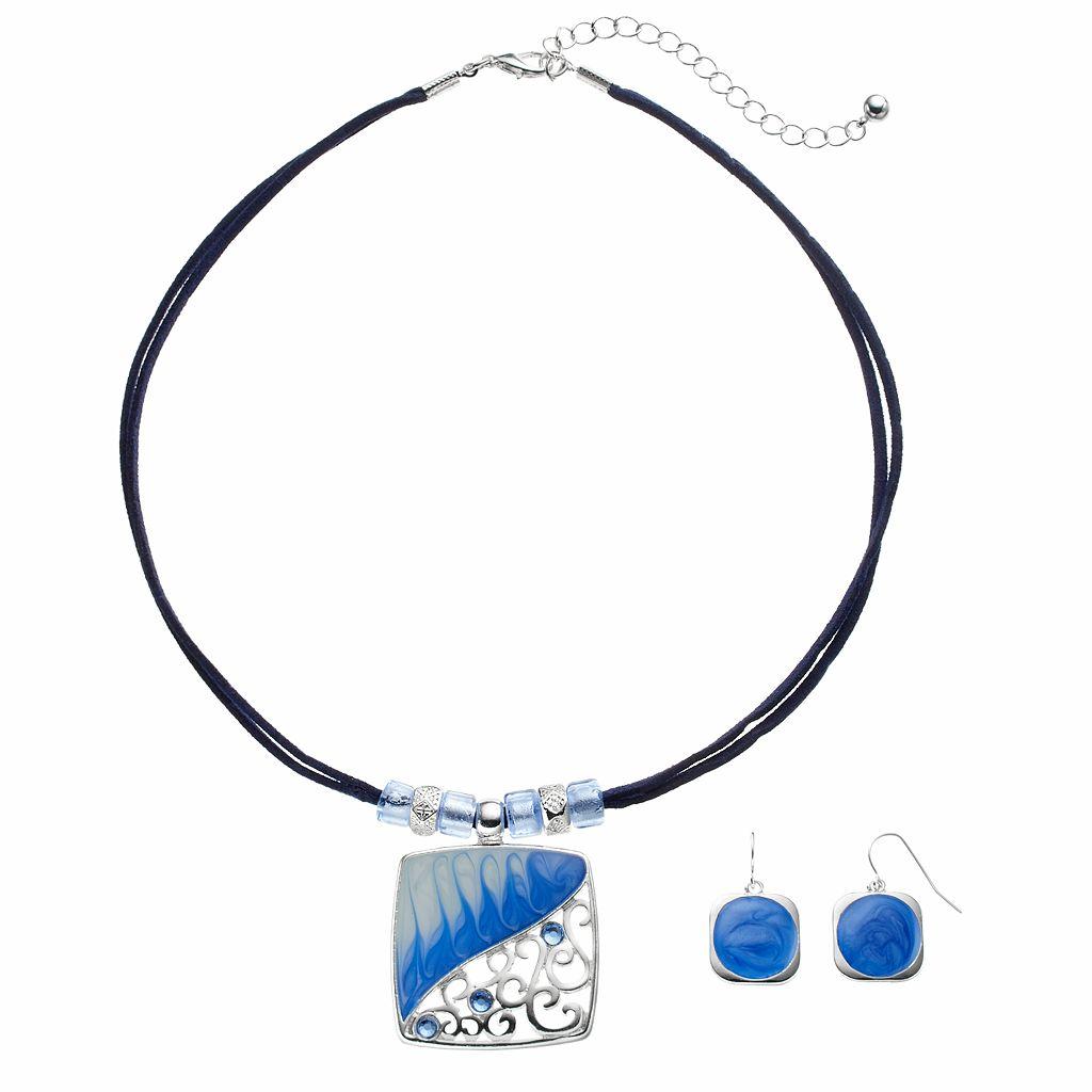Blue Square Pendant Necklace & Drop Earring Set