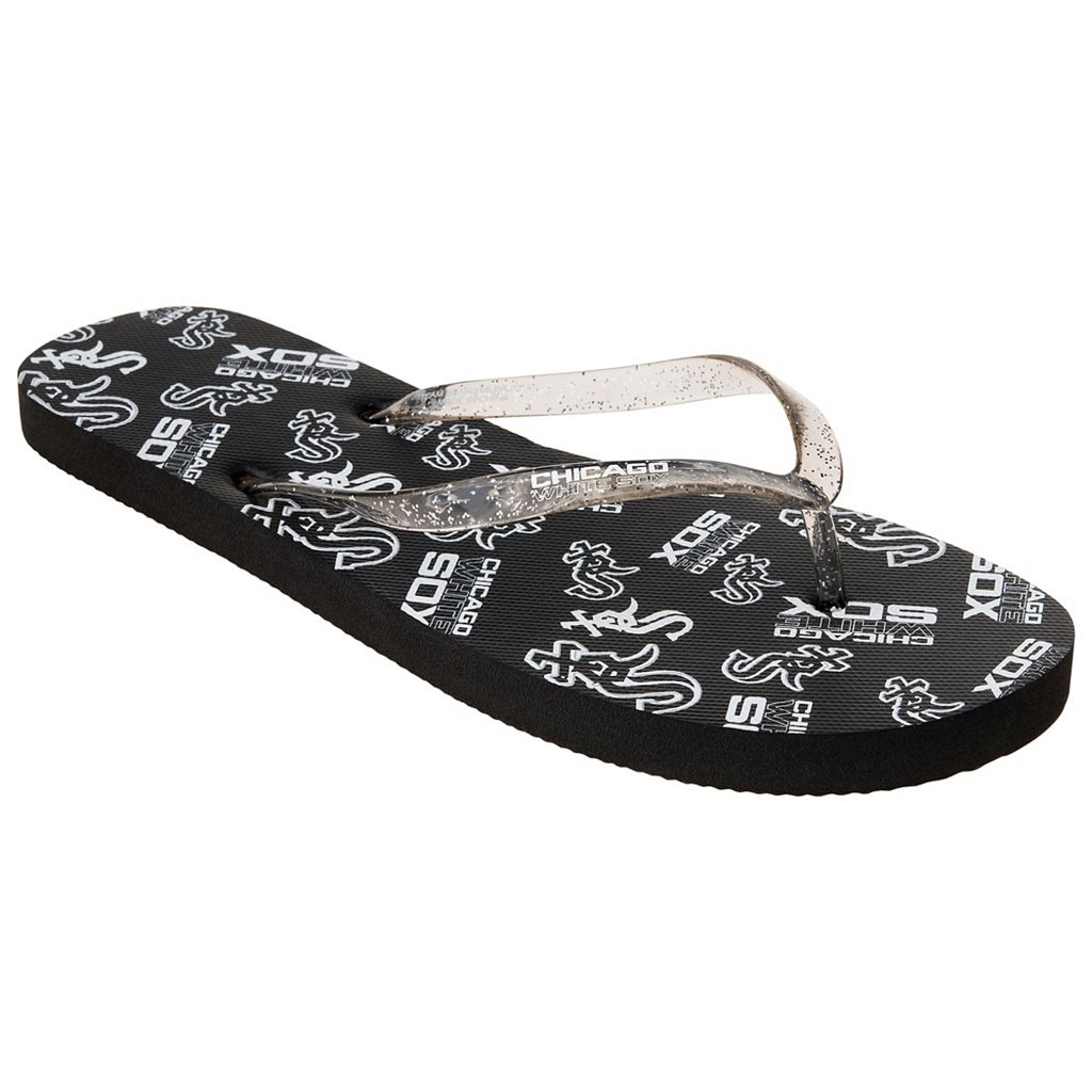 Women's Chicago White Sox Multi-Logo Glitter Flip-Flops