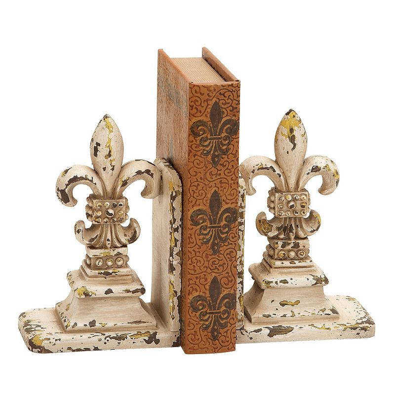Fleur de Lis Bookends 2-piece Set Add a touch of elegance to your decor with this fleur de lis bookends set. Distressed finish 9''H x 11''W x 4''D Polyurethane Note: book not included Spot clean Model no. 34844  Size: One Size. Color: Multicolor. Gender: unisex. Age Group: adult.