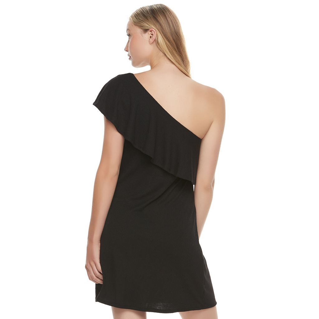 Juniors' Love, Fire Ribbed One Shoulder Swing Dress