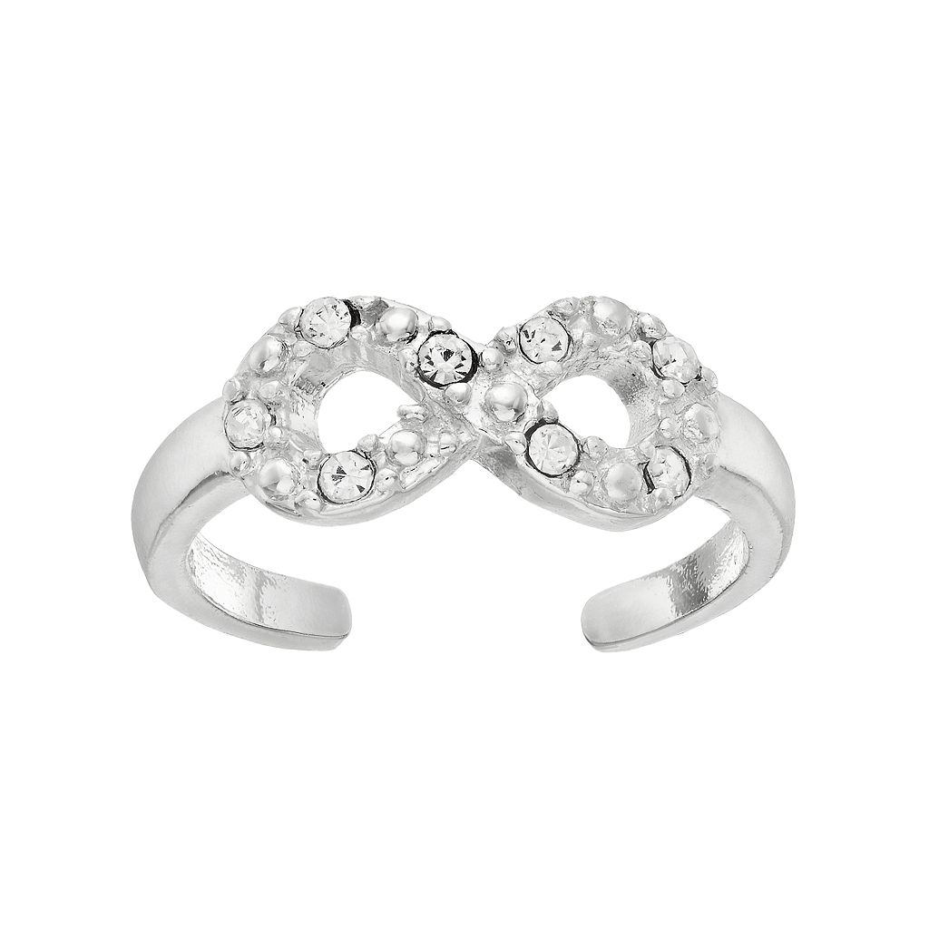 Barefootsies Silver Plated Crystal Infinity Toe Ring
