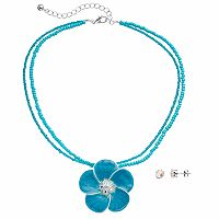Blue Beaded Flower Pendant Necklace & Stud Earring Set