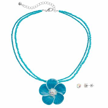 Blue Beaded Flower Pendant Necklace & Stud Earring Set
