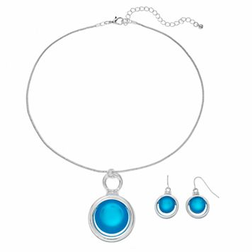 Aqua Circle Pendant Necklace & Drop Earring Set