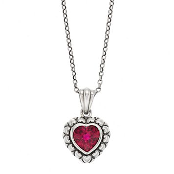 Adora Sterling Silver Simulated Ruby Heart Pendant
