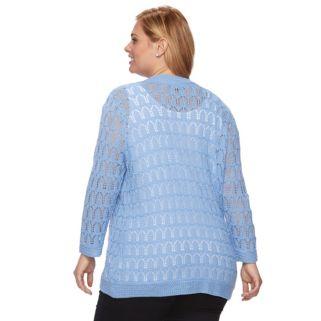 Plus Size Napa Valley Crochet Open-Front Cardigan
