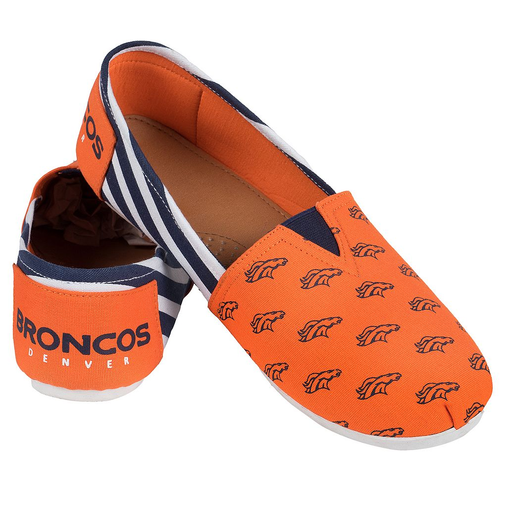 Women's Forever Collectibles Denver Broncos Striped Canvas Shoes