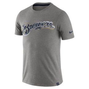Men's Nike Milwaukee Brewers Marled Wordmark Tee