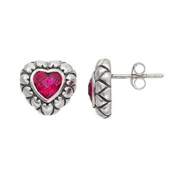 Adora Sterling Silver Lab-Created Ruby Heart Stud Earrings