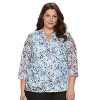 Plus Size Napa Valley Print Lace Top with Tank