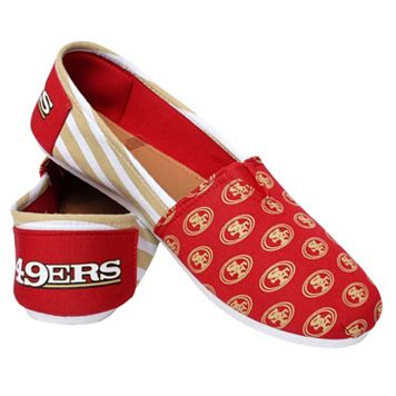 Women's Forever Collectibles San Francisco 49ers Striped Canvas Shoes