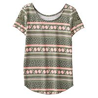 Girls 7-16 Mudd® Crochet Lace Short Sleeve Patterned Tee