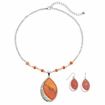 Peach Marbled Teardrop Pendant Necklace & Drop Earring Set