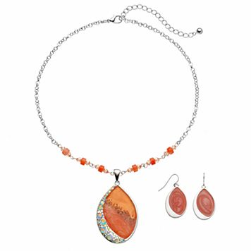 Peach Marbled Teardrop Pendant Necklace & Drop Earring Set