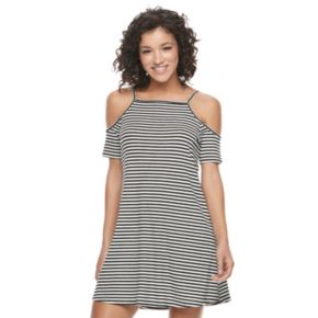 Juniors' Love, Fire Ribbed Cold Shoulder Swing Dress