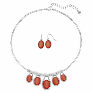 Peach Oval Cabochon Necklace & Drop Earring Set