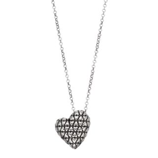 Adora Sterling Silver Textured Heart Pendant
