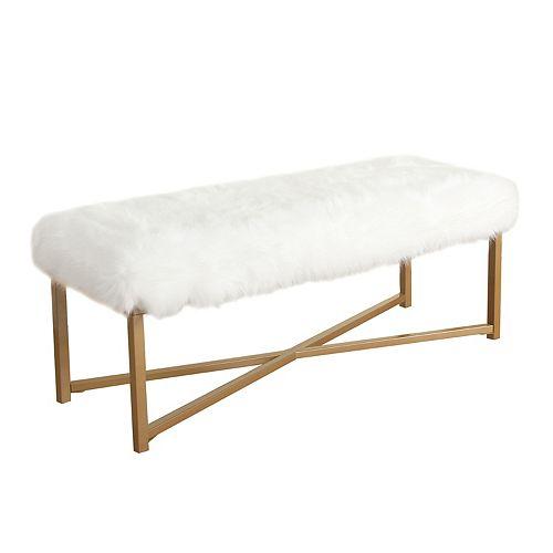 HomePop Faux-Fur Bench