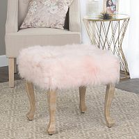 HomePop Blush Faux-Fur Stool End Table