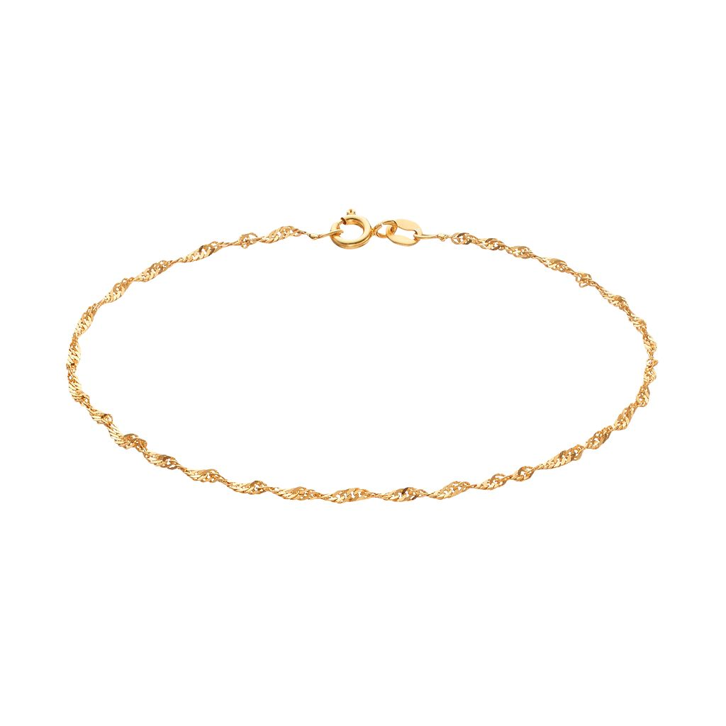 Barefootsies 14k Gold Plated Singapore Chain Anklet