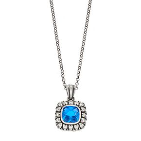 Adora Sterling Silver Simulated Blue Topaz Square Pendant