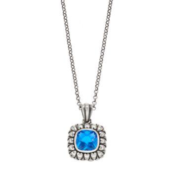 Adora Sterling Silver Simulated Blue Topaz Square Pendant