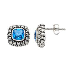 Adora Sterling Silver Simulated Blue Topaz Square Stud Earrings