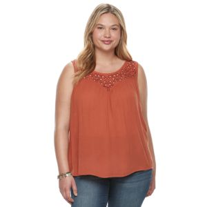 Juniors' Plus Size Mudd® Embroidered Yoke Tank