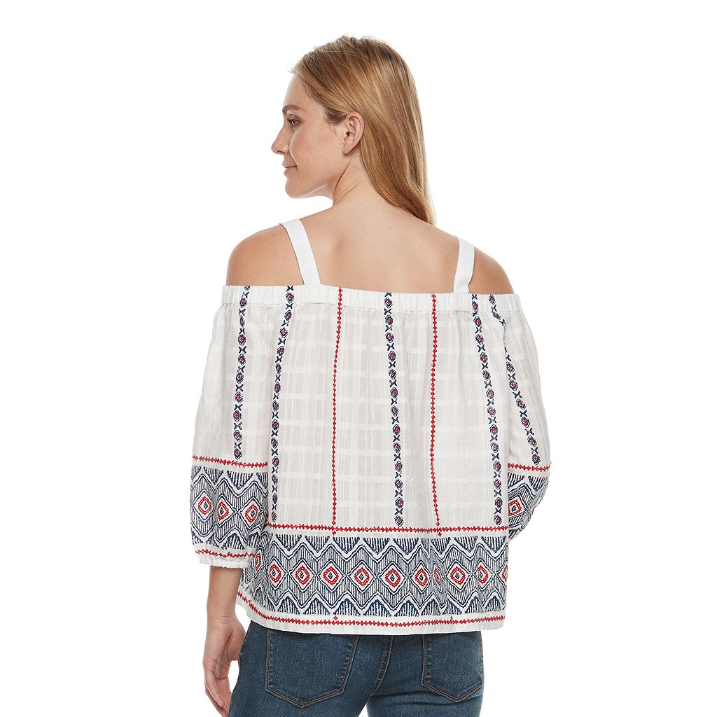 Women's SONOMA Goods for Life™ Embroidered Off-the-Shoulder Top