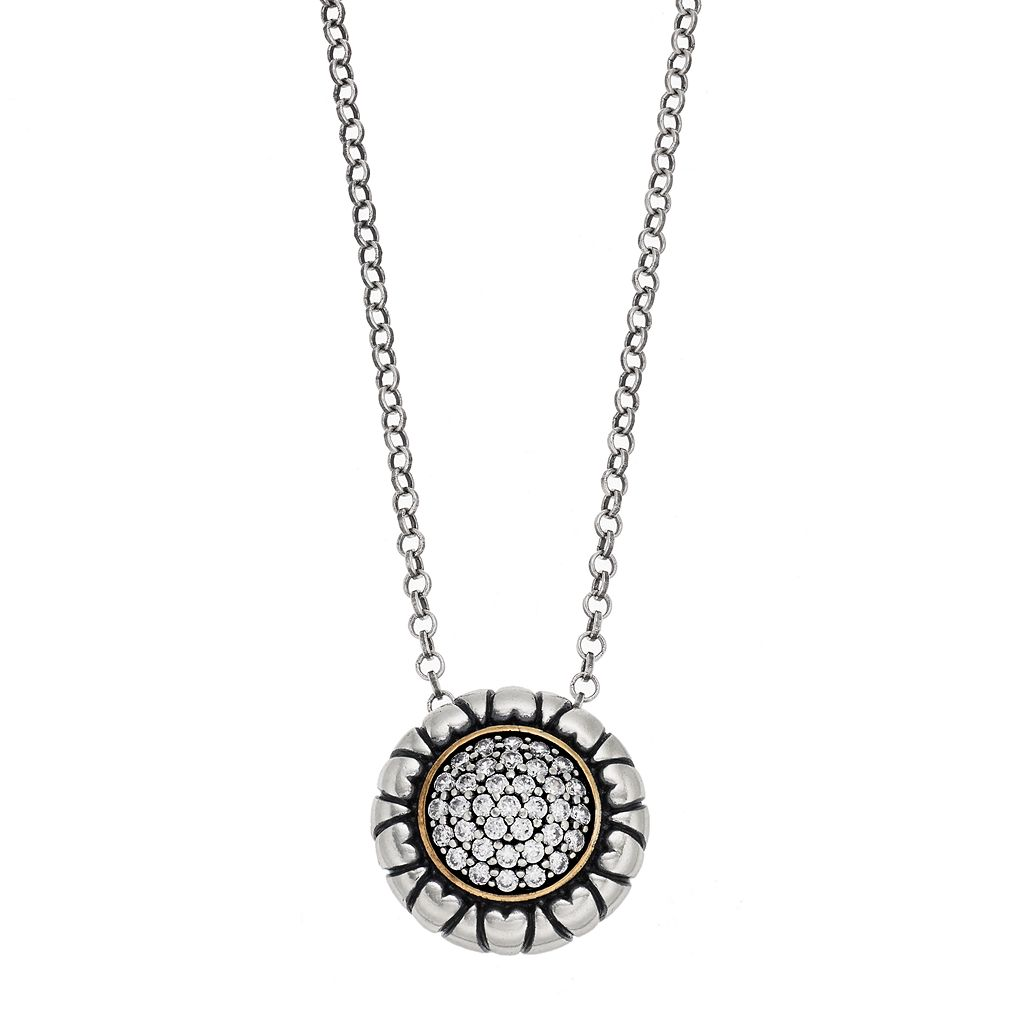 Adora Two Tone Sterling Silver Cubic Zirconia Circle Pendant