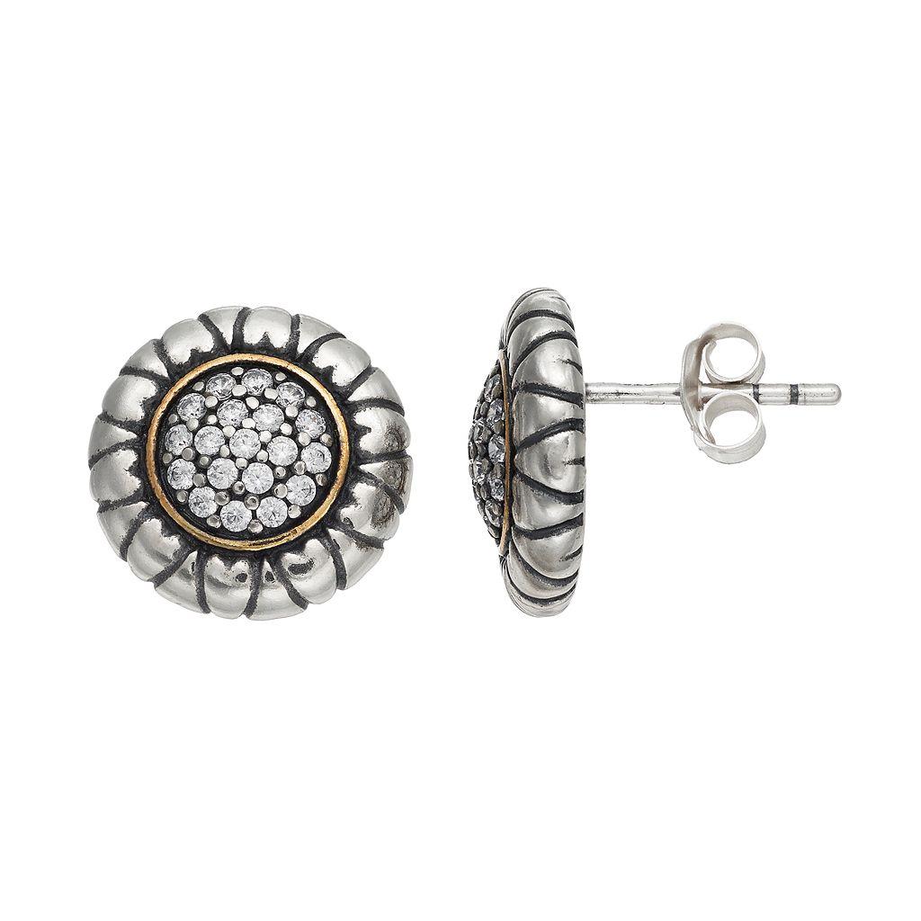 Adora Two Tone Sterling Silver Cubic Zirconia Stud Earrings