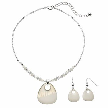 White Triangular Pendant Necklace & Drop Earring Set