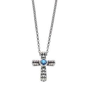 Adora Sterling Silver Simulated Blue Topaz Cross Pendant