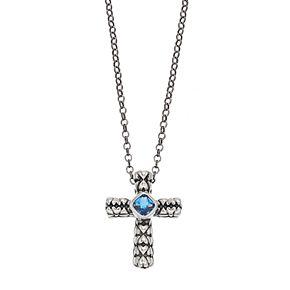 Adora Sterling Silver Simulated Blue Topaz Cross Pendant