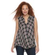 Plus Size Rock & Republic® Twist Front Plaid Top