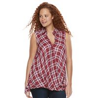 Plus Size Rock & Republic® Twist Front Plaid Top