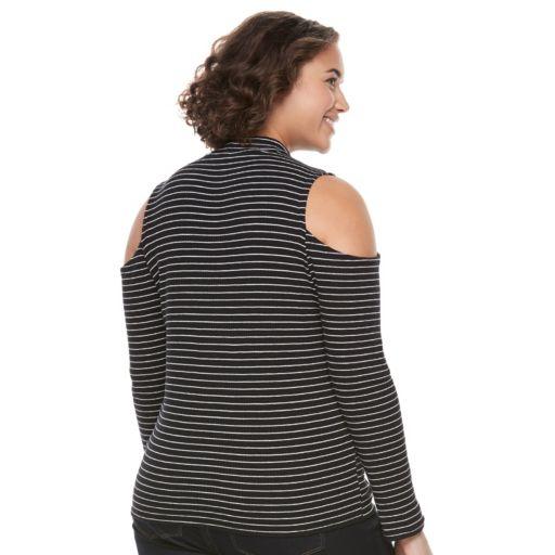 Juniors' Plus Size SO® Mockneck Cold-Shoulder Top