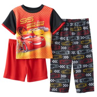 "Disney / Pixar Cars 3 Toddler Boy Lightning Mcqueen ""Next-Gen Racer"" Graphic Tee, Short & Pants Pajama Set"
